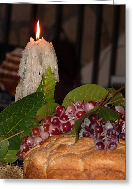 Fruit And Wine Greeting Cards - Candle and Grapes Greeting Card by Marcia Socolik