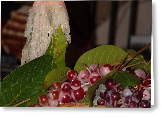 Candle and Grapes Greeting Card by Marcia Socolik
