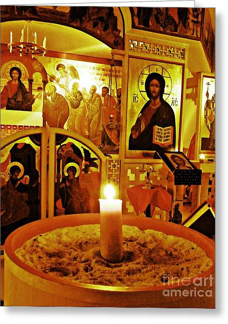 Jesus Christ Icon Greeting Cards - Candle and Icons Greeting Card by Sarah Loft