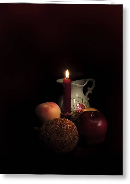 Candle Lit Greeting Cards - Candle and Pitcher Greeting Card by Cecil Fuselier