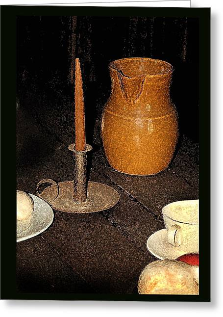 Pottery Pitcher Greeting Cards - Candle and Pitcher Greeting Card by Tod Ramey