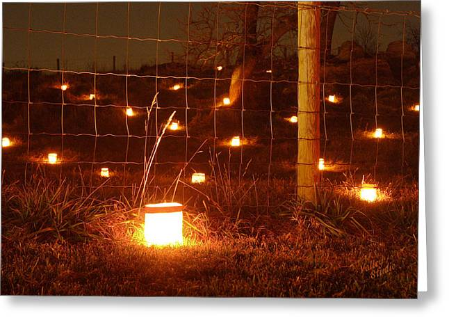Luminaries Greeting Cards - Candle at Wire Fence 12 Greeting Card by Judi Quelland