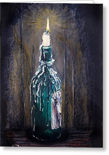 Wine-bottle Pastels Greeting Cards - Candle by Candlelight Greeting Card by Simeon Taylor