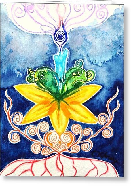 Chakra Rainbow Greeting Cards - Candle Chakra Doodle Greeting Card by Christine Kfoury