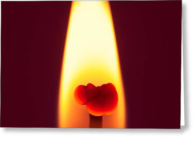Candle Flame Macro Greeting Card by Wim Lanclus