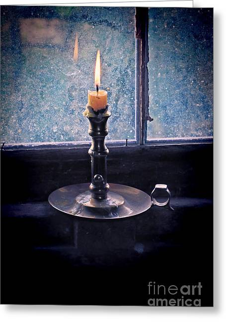 Lit Greeting Cards - Candle in the Window Greeting Card by Jill Battaglia