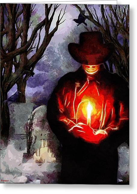 Cemetary Paintings Greeting Cards - Candle Light at The Graveyard Greeting Card by Tyler Robbins