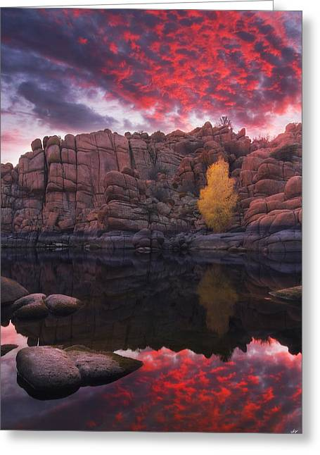 Prescott Greeting Cards - Candle Lit Lake Greeting Card by Peter Coskun