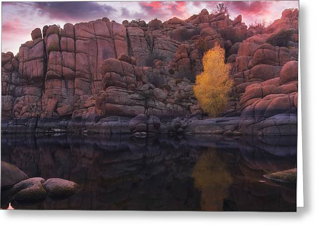 Candle Lit Lake Greeting Card by Peter Coskun