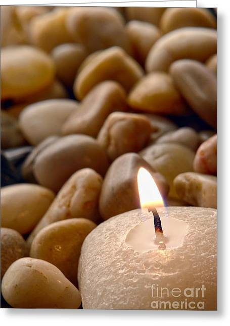 Candle Greeting Cards - Candle on the Rocks Greeting Card by Olivier Le Queinec