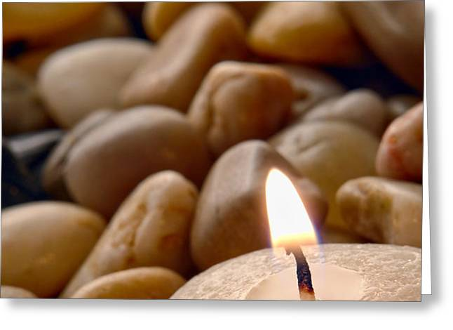 Candle on the Rocks Greeting Card by Olivier Le Queinec