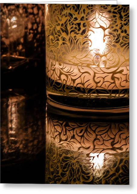 Glass Table Reflection Greeting Cards - Candle Reflections Greeting Card by James Woody