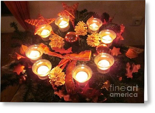 Frohe Greeting Cards - Candle Star Greeting Card by Nina Donner