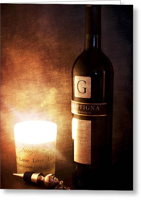 Soft Mood Greeting Cards - Candle Wine Greeting Card by Peter Chilelli