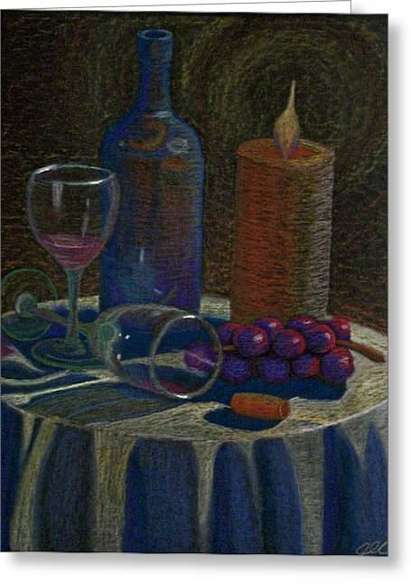 Wine Grapes Pastels Greeting Cards - Candle Wine Vibe Greeting Card by Jesse Colton