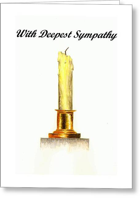 Sympathy Paintings Greeting Cards - Candle - With Deepest Sympathy Greeting Card by Michael Vigliotti