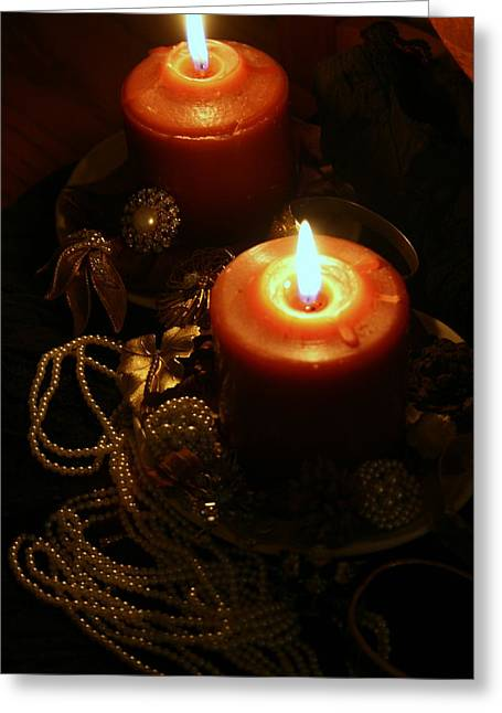 Jewelry Posters Greeting Cards - Candlelight And Vintage Jewels Greeting Card by Kay Novy