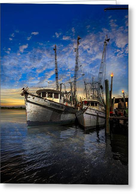 Shrimpers Greeting Cards - Candlelight Greeting Card by Debra and Dave Vanderlaan