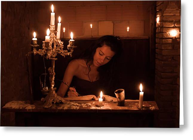 Candle Lit Greeting Cards - Candlelight Fantasia Greeting Card by Andrea Mazzocchetti
