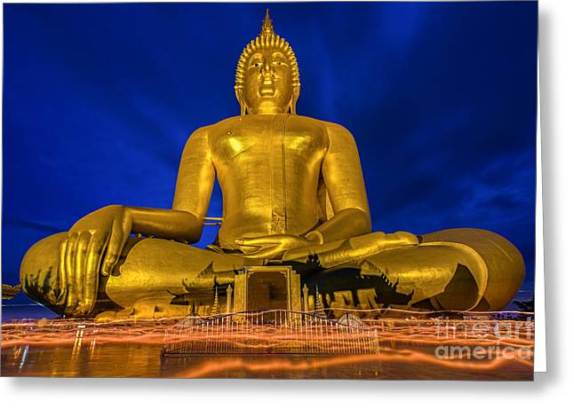 Unseen Greeting Cards - Candlelight Makha Bucha Day at Wat Muang  Greeting Card by Anek Suwannaphoom