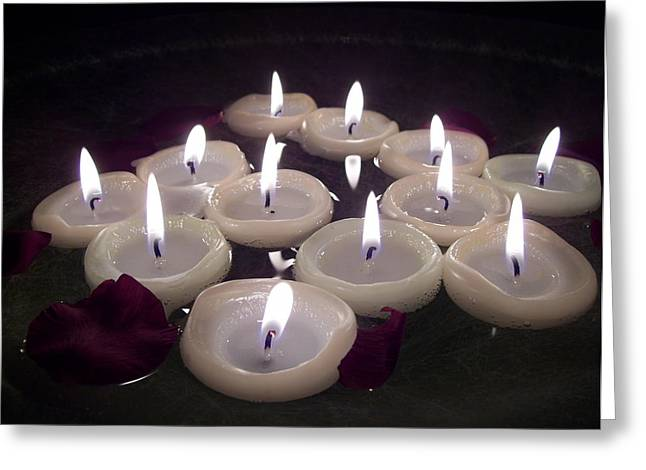 Zwoelf Greeting Cards - Candlelight Greeting Card by Ramon Labusch