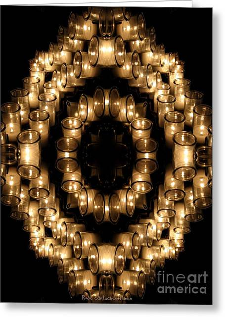 Sacramental Greeting Cards - Candles Abstract 6 Greeting Card by Rose Santuci-Sofranko