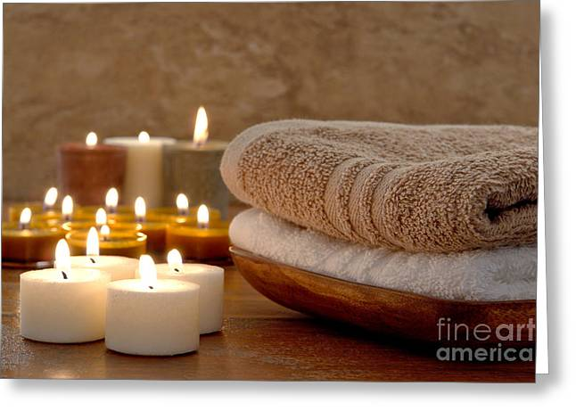 Votive Candles Greeting Cards - Candles and Towels in a Spa Greeting Card by Olivier Le Queinec