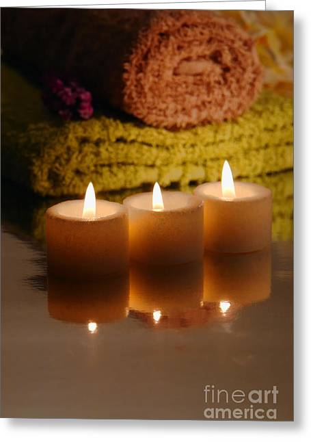 Burning Greeting Cards - Candles and Towels Greeting Card by Olivier Le Queinec