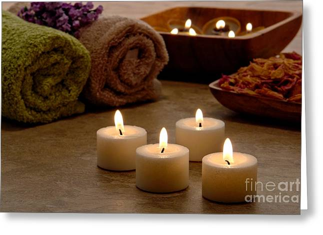 Organic Photographs Greeting Cards - Candles in a Spa Greeting Card by Olivier Le Queinec