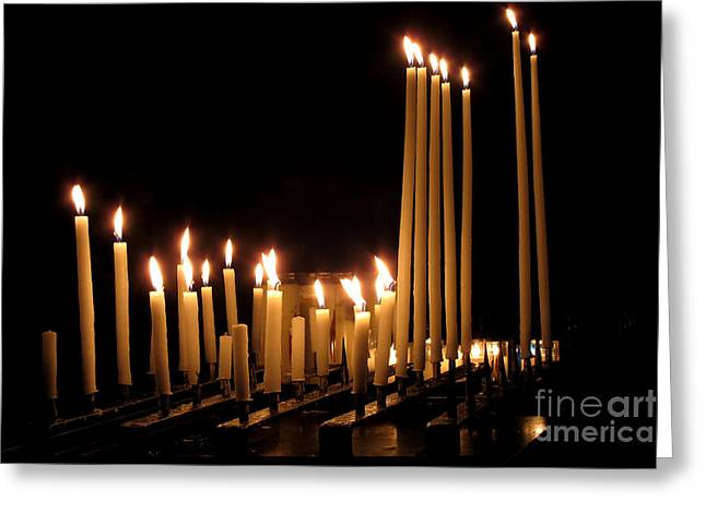 Prayer Service Greeting Cards - Candles in Church Greeting Card by Olivier Le Queinec