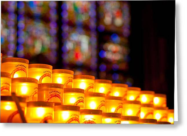 Candle Lit Greeting Cards - Candles in Notre Dame Greeting Card by Anthony Doudt