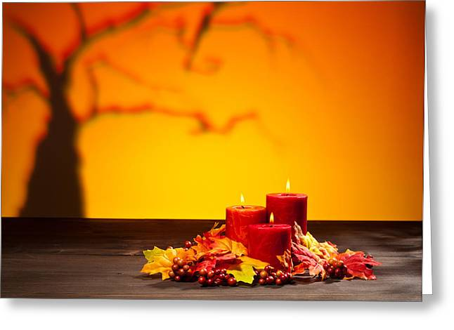 Russet Greeting Cards - Candles in scary Halloween landscape Greeting Card by Ulrich Schade