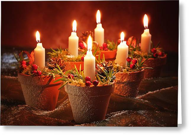 Fir Greeting Cards - Candles In Terracotta Pots Greeting Card by Amanda And Christopher Elwell