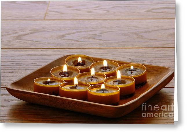 Votive Candles Greeting Cards - Candles in Wood Tray Greeting Card by Olivier Le Queinec
