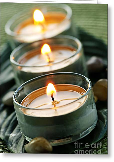 Wax Greeting Cards - Candles on green Greeting Card by Elena Elisseeva
