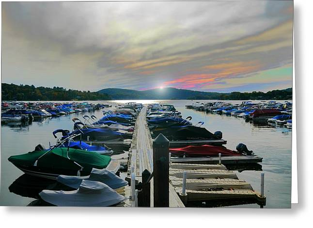 Recently Sold -  - Boats At Dock Greeting Cards - Candlewood Lake Greeting Card by Diana Angstadt