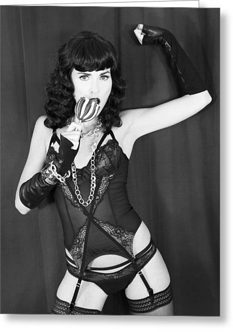 Starlet Photographs Greeting Cards - CANDY APPLE DAME Bettie Greeting Card by William Dey