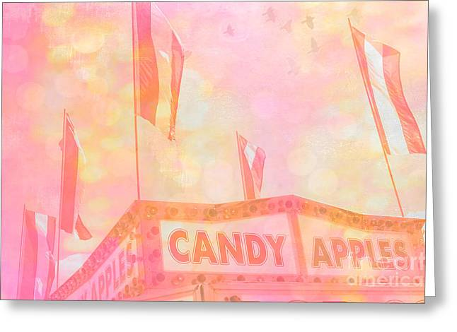 Candy Apples Greeting Cards - Candy Apples Carnival Festival Fair Stand  Greeting Card by Kathy Fornal