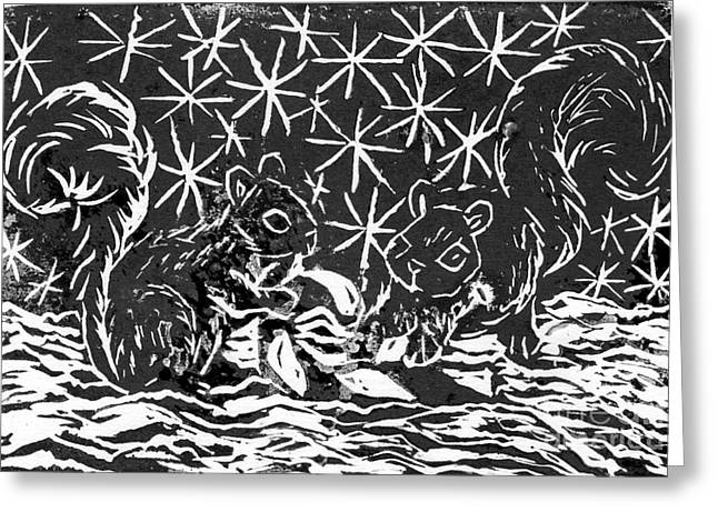 Relief Printing Greeting Cards - Candy Cane and Two Squirrels  a  block print Greeting Card by Ellen Miffitt