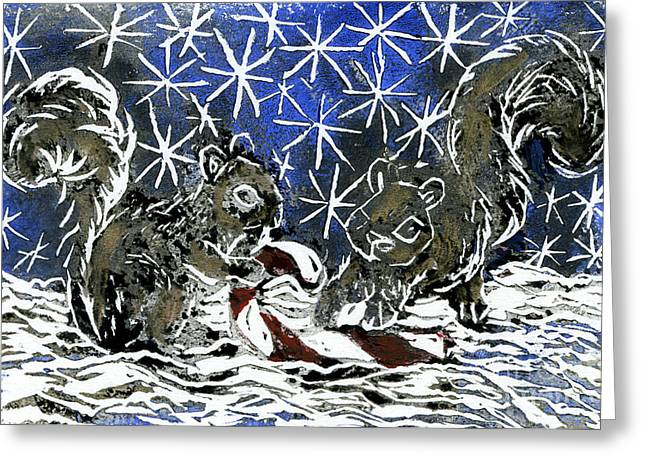 Relief Printing Greeting Cards - Candy Cane and Two Squirrels a block print in color Greeting Card by Ellen Miffitt