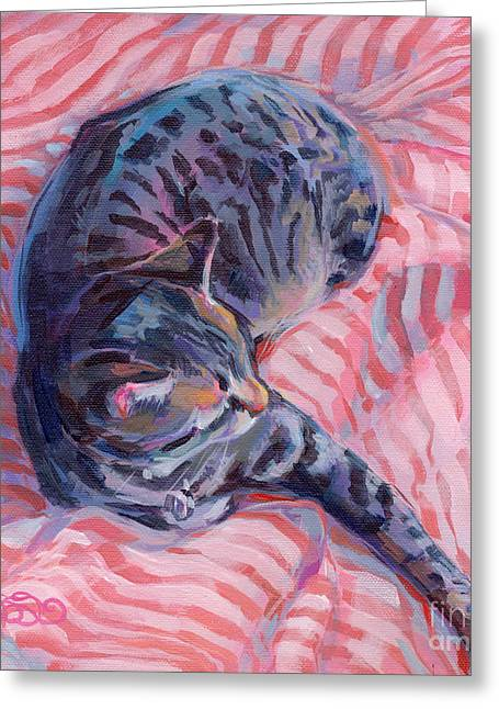 Tabby Greeting Cards - Candy Cane Greeting Card by Kimberly Santini