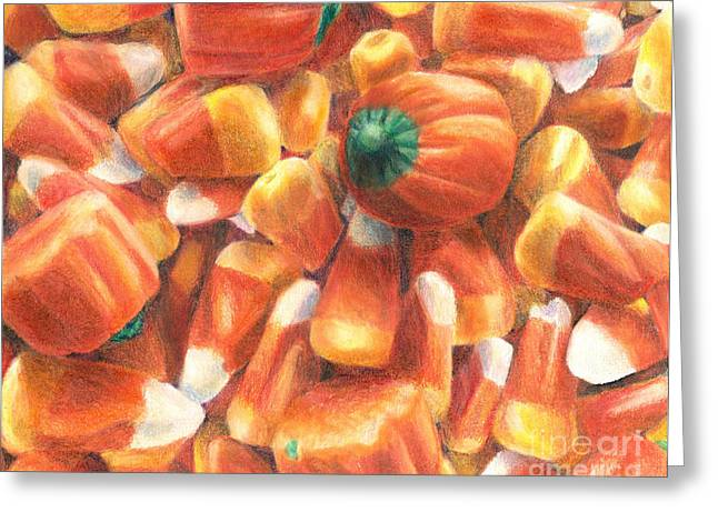 Harvest Time Drawings Greeting Cards - Candy Corn Cascade Greeting Card by Shana Rowe