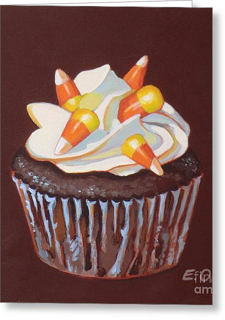 Candy Paintings Greeting Cards - Candy Corn Cupcake Greeting Card by Elisabeth Olver
