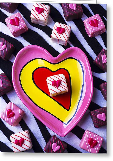 Concept Photographs Greeting Cards - Candy dish and hearts Greeting Card by Garry Gay
