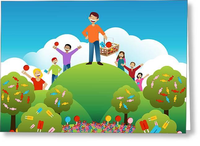 Lemon Art Greeting Cards - Candy Ice Cream Kids Greeting Card by John Takai