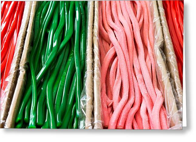 Abstract Waves Greeting Cards - Candy laces Greeting Card by Tom Gowanlock
