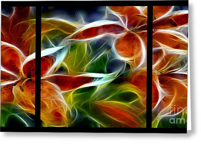 Vibrant Greeting Cards - Candy Lily Fractal Triptych Greeting Card by Peter Piatt