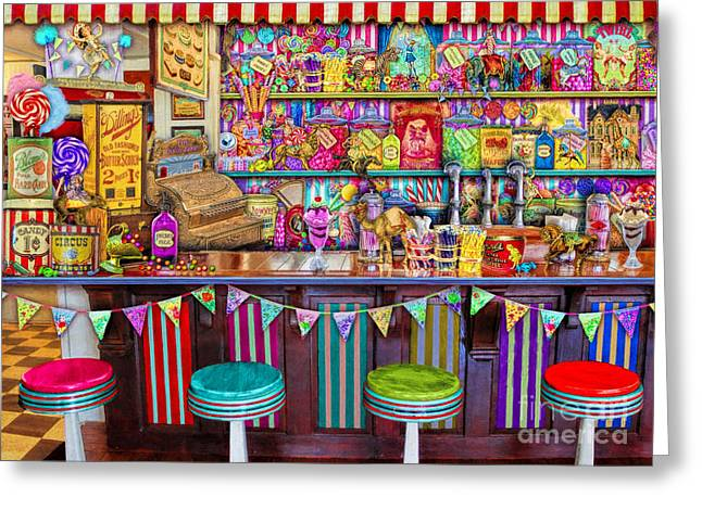 Fizz Greeting Cards - Candy Shop Greeting Card by Aimee Stewart