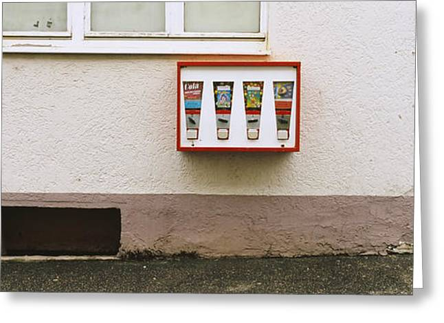 Vending Machine Photographs Greeting Cards - Candy Vending Machine On The Wall Greeting Card by Panoramic Images