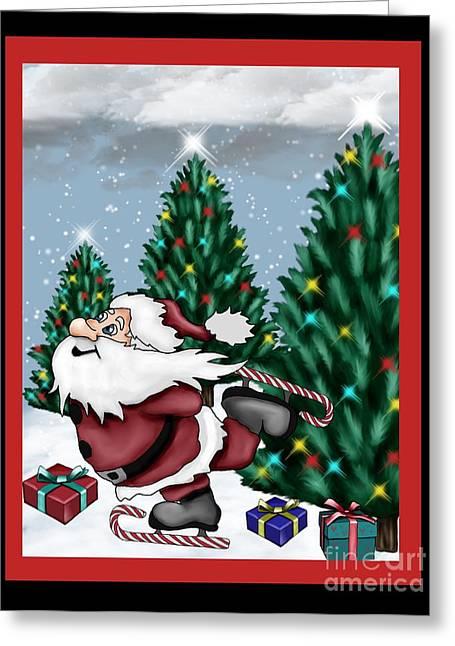 Skates Mixed Media Greeting Cards - Candycane Santa Greeting Card by Karen Sheltrown